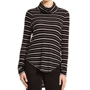 FREE PEOPLE Cowl Neck High Low Striped Long Sleeve